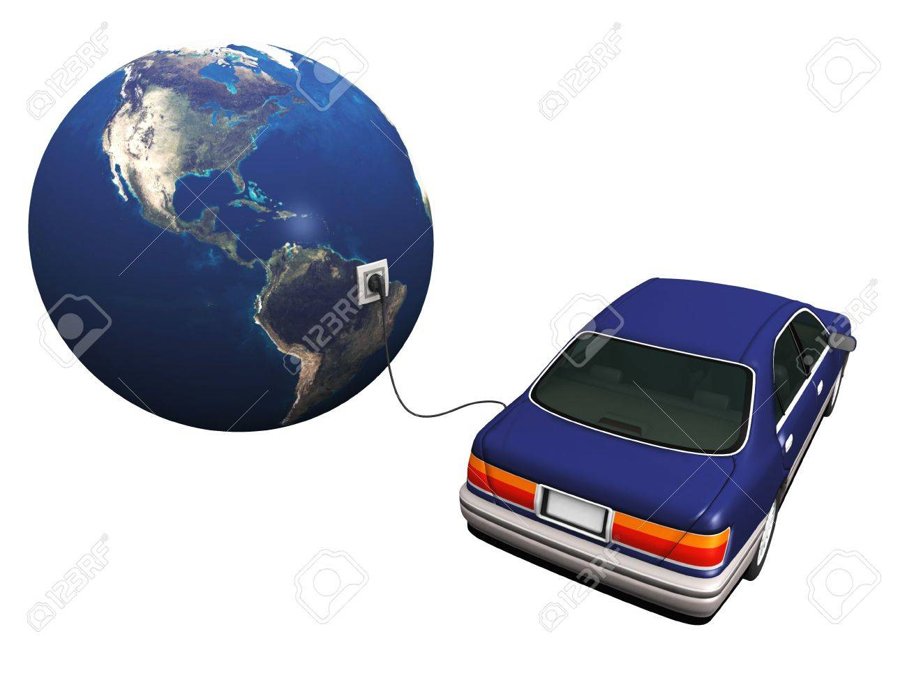 An electric car plugged in with a cord to the earth, charging it's 