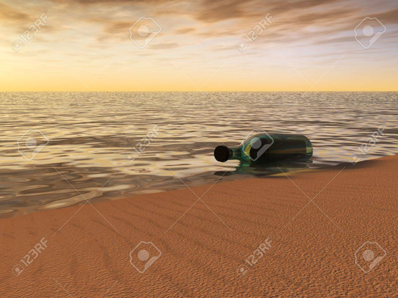 A bottle with a message in it lying at the beach just by the waterside at sunset. Stock Photo - 4858707