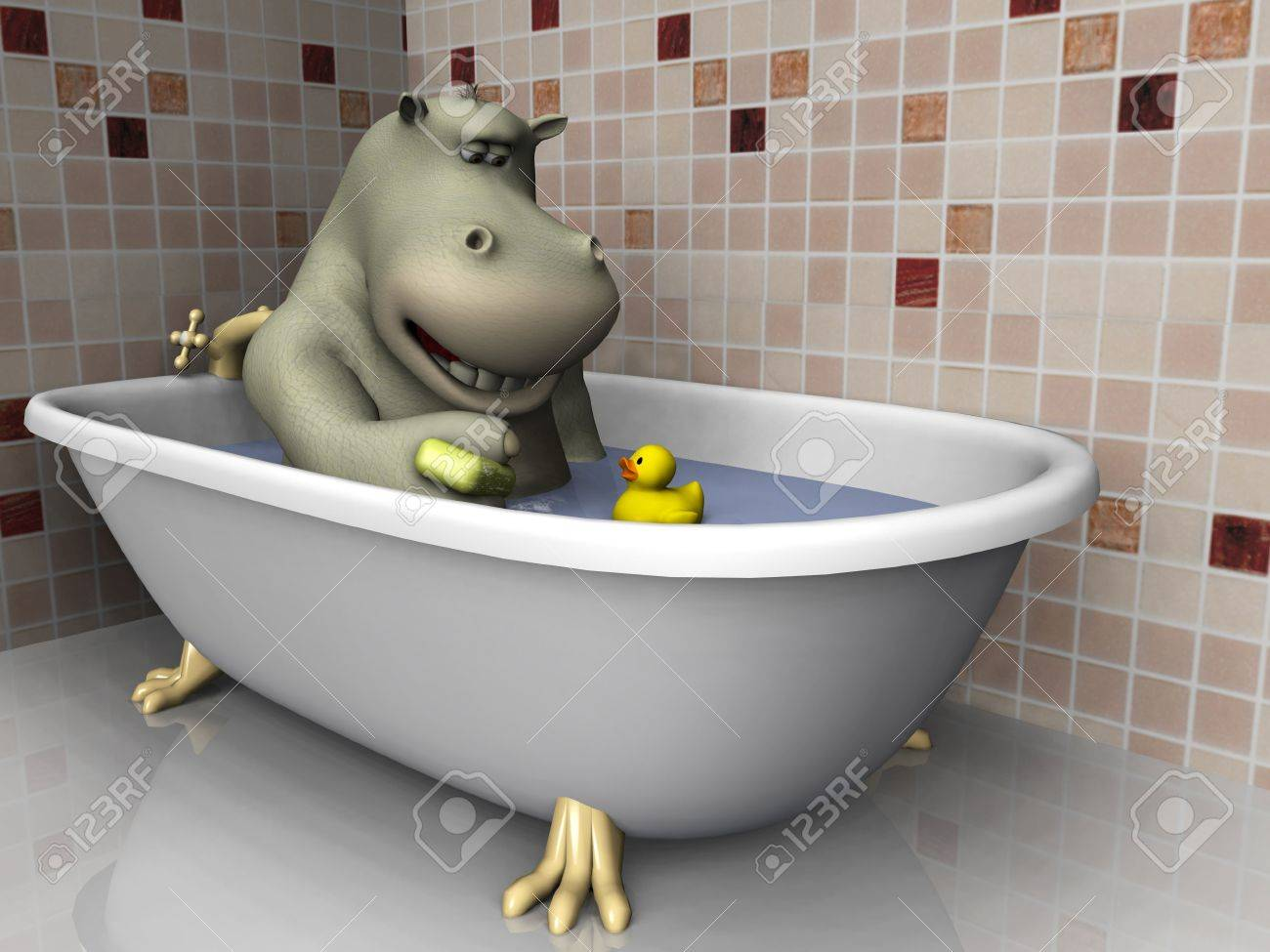 A Cartoon Hippo In A Bathtub With His Rubber Duck. Stock Photo ...