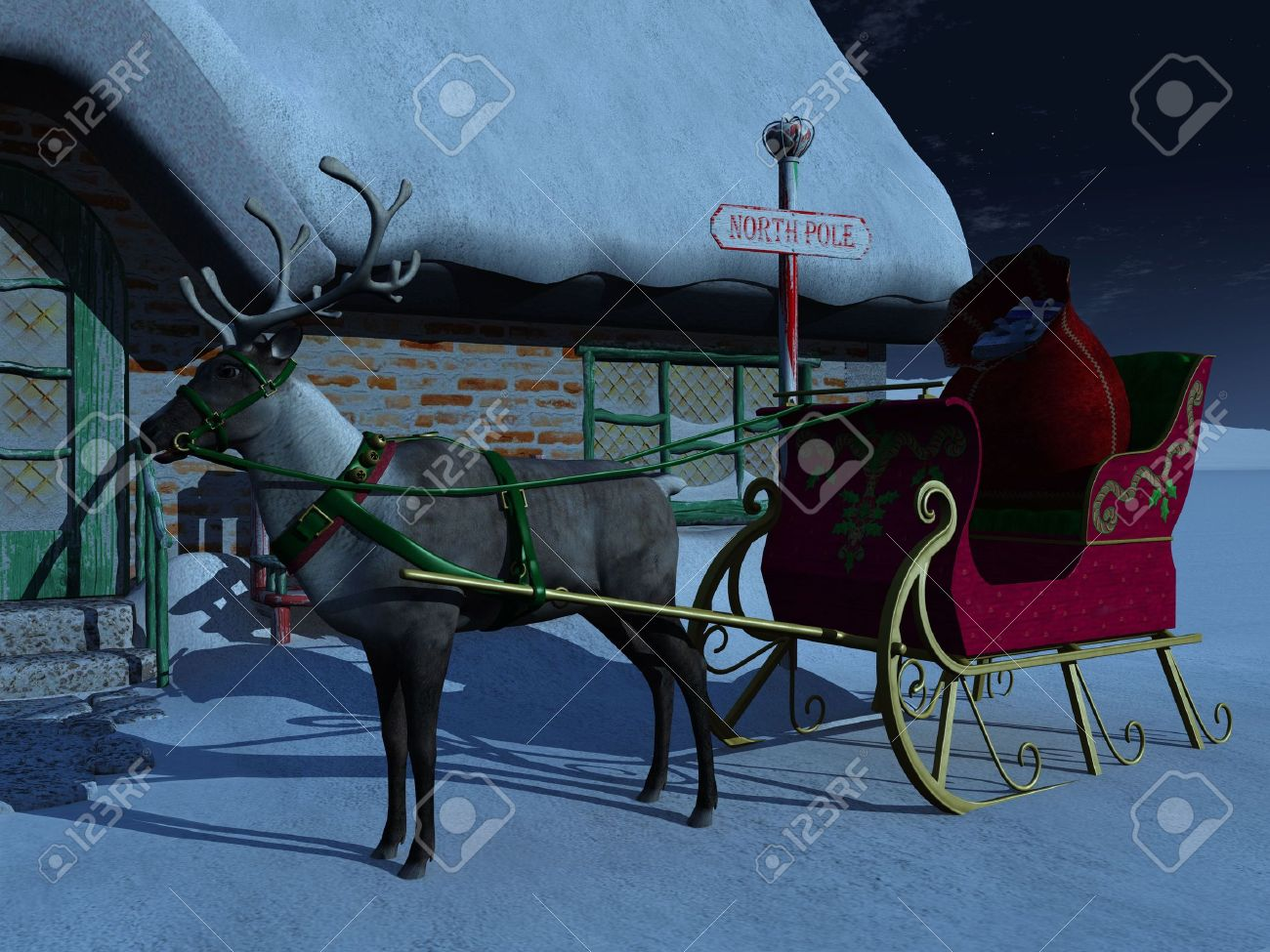 a reindeer with sleigh waiting outside santa claus u0027 house a starry