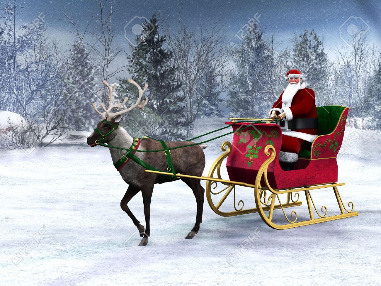 Immagini Babbo Natale Con Slitta.Una Renna Tirando Una Slitta Con Babbo Natale In Essa Lo Sfondo E Una Foresta Bella Invernale Innevato