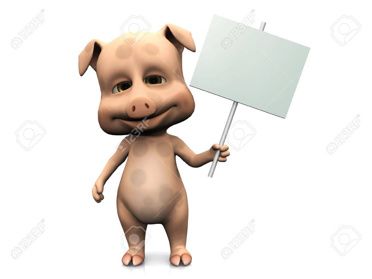 A cute pig holding a blank sign in its hand. White background. Stock Photo - 6922946