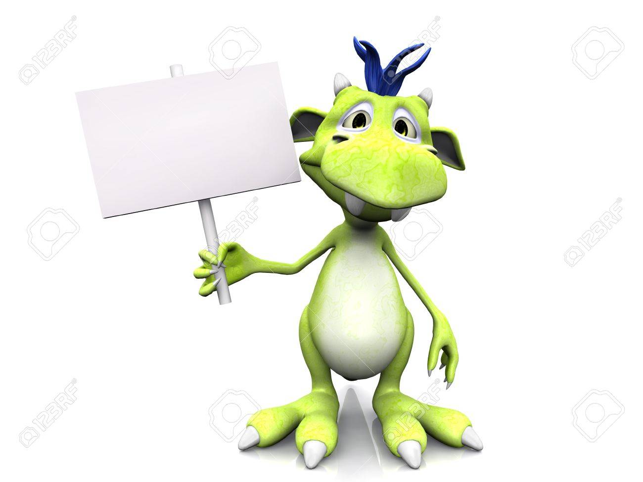A cute friendly cartoon monster holding a blank sign in his hand. The monster is green with blue hair. White background. Stock Photo - 8682194