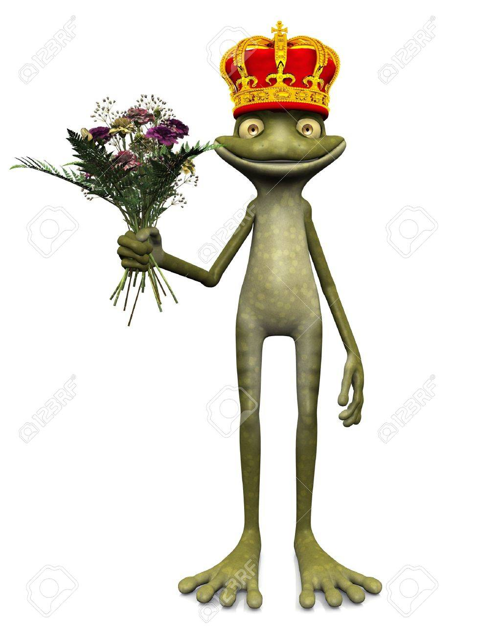 a charming cartoon frog with a prince crown on his head and a
