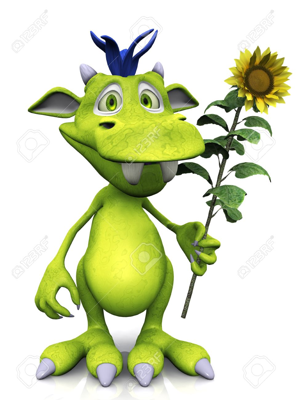 A cute friendly cartoon monster holding a big yellow sunflower in his hand. The monster is green with blue hair. White background. Stock Photo - 8982524