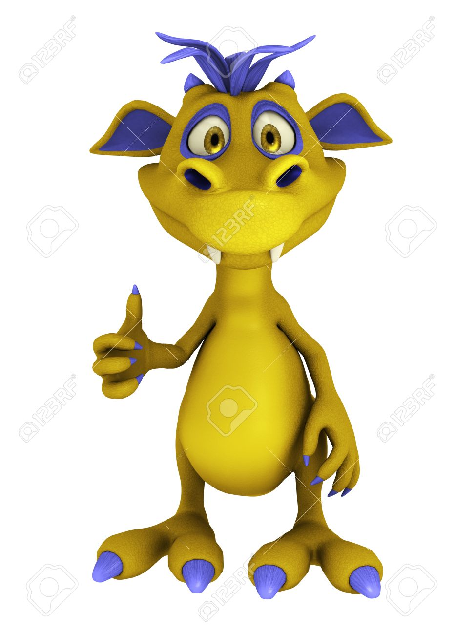 A cute friendly cartoon monster doing a thumbs up. The monster is yellow with purple hair. Isolated on white background. Stock Photo - 9037555