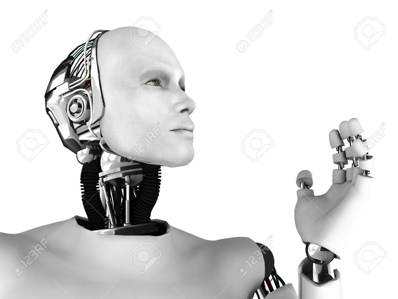 The profile of a male robot gazing into the future. Isolated on white background. Stock Photo - 9177596