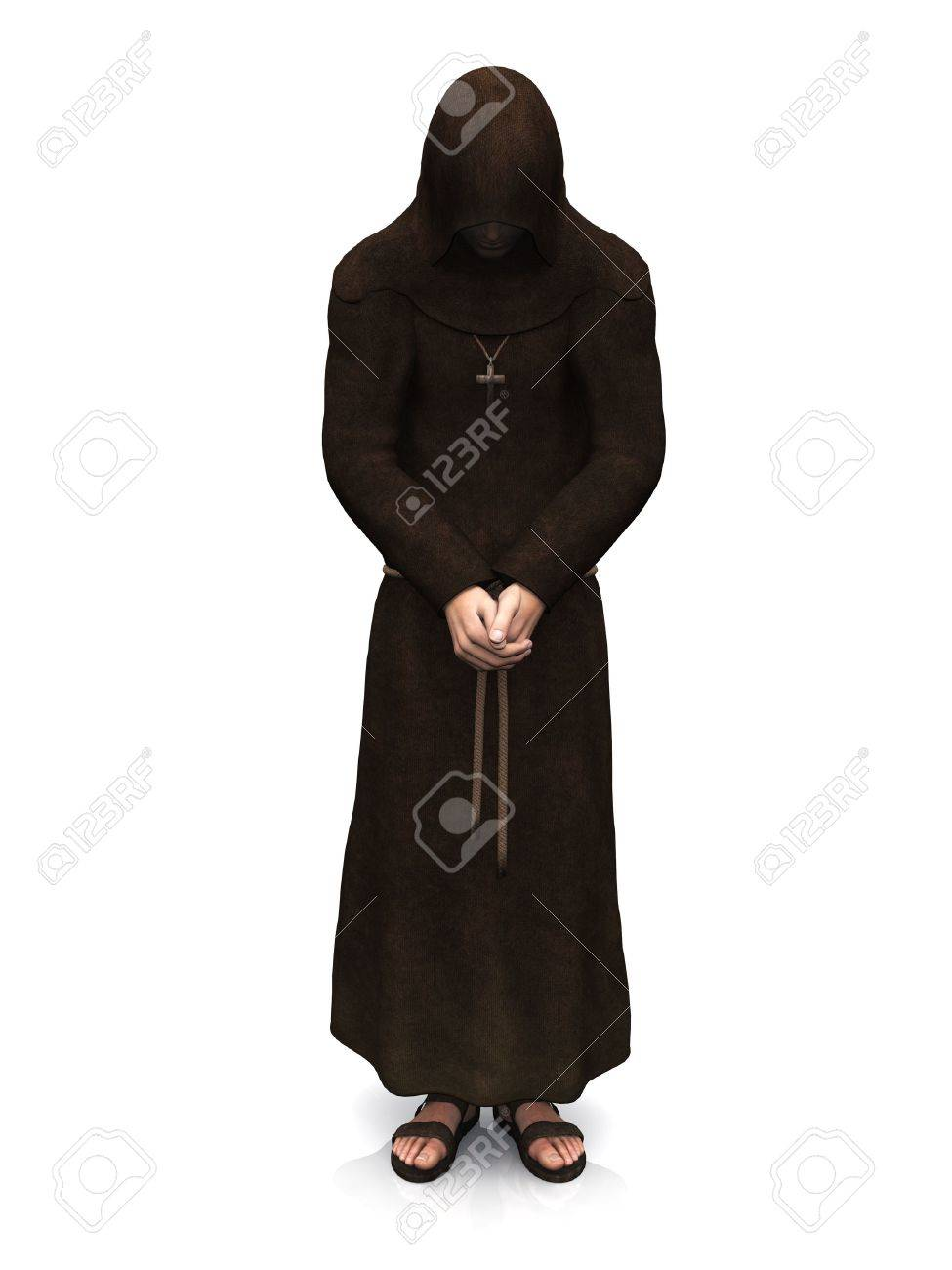 3d render of a christian monk with his head bowed, contemplating. White background. Stock Photo - 9496478