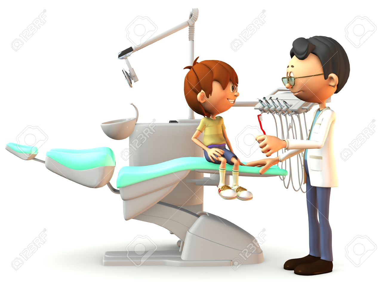 A young, smiling cartoon boy sitting on a dental chair. A dentist stands in front of him with a red toothbrush in his hand. White background. Stock Photo - 9549368