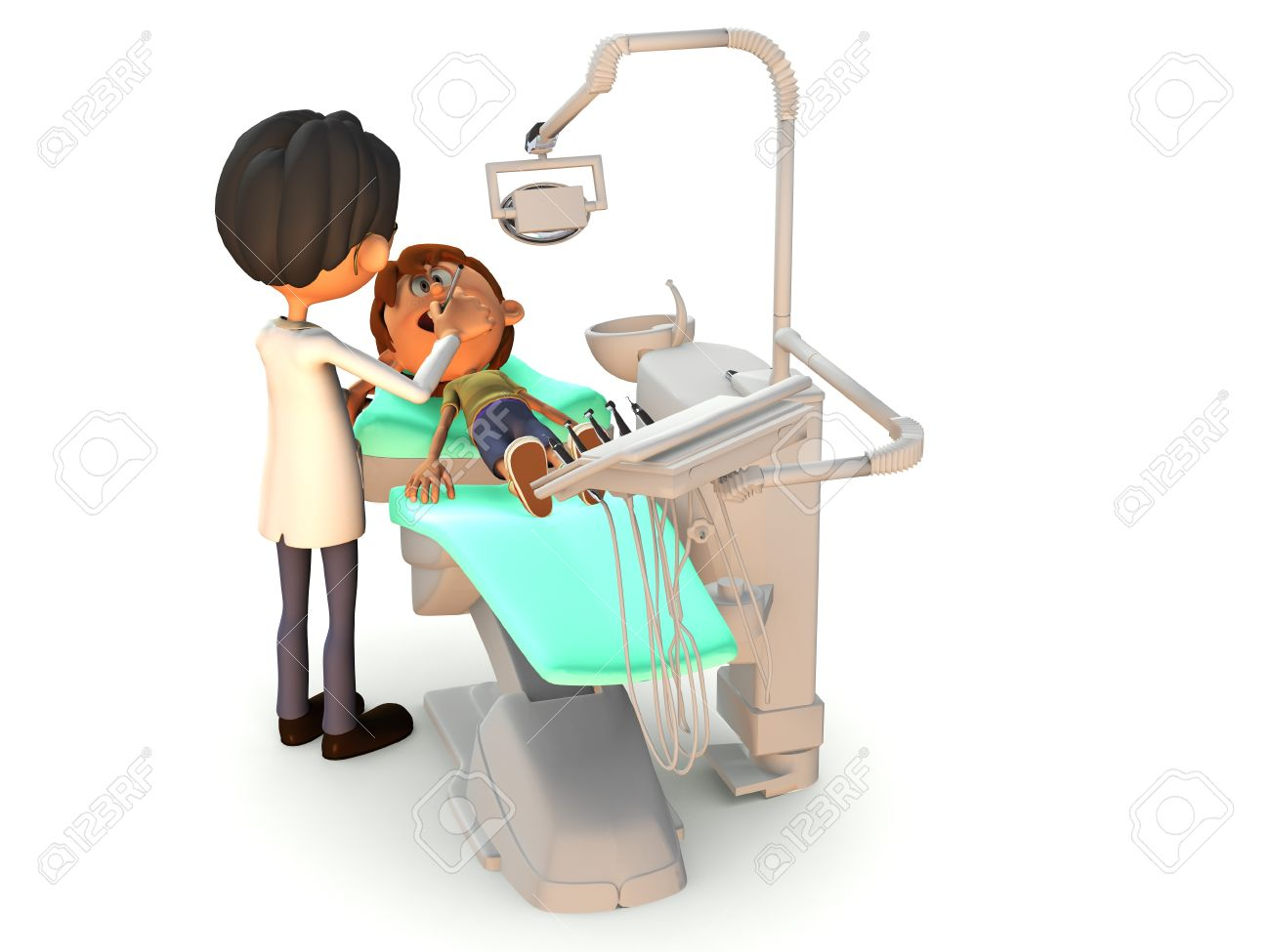 A young cartoon boy getting a dental exam by a dentist. White background. Stock Photo - 9549367