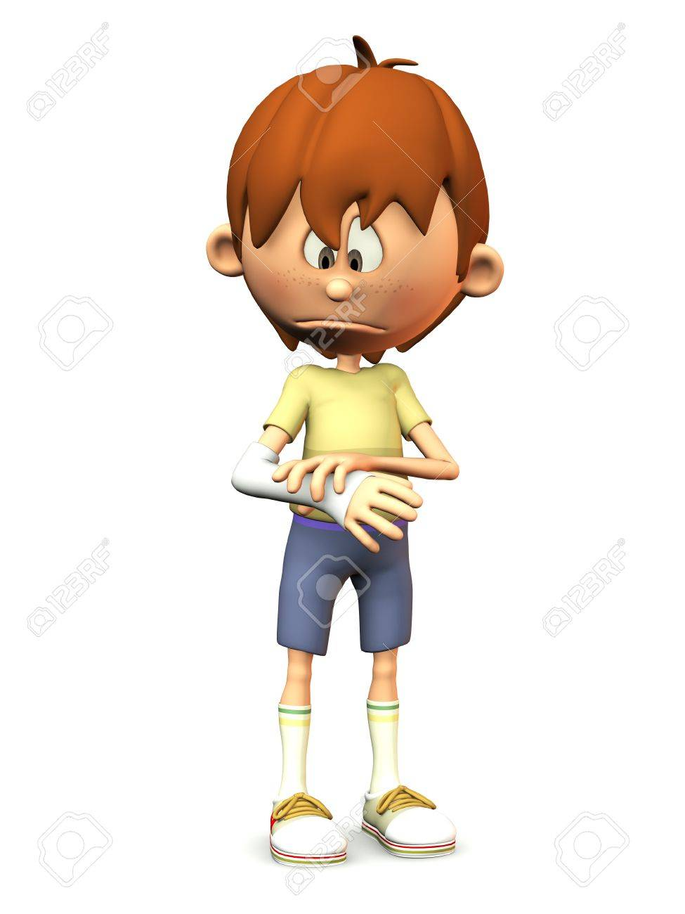 A cartoon boy looking at his broken arm and looking very sad. White background. Stock Photo - 9604386