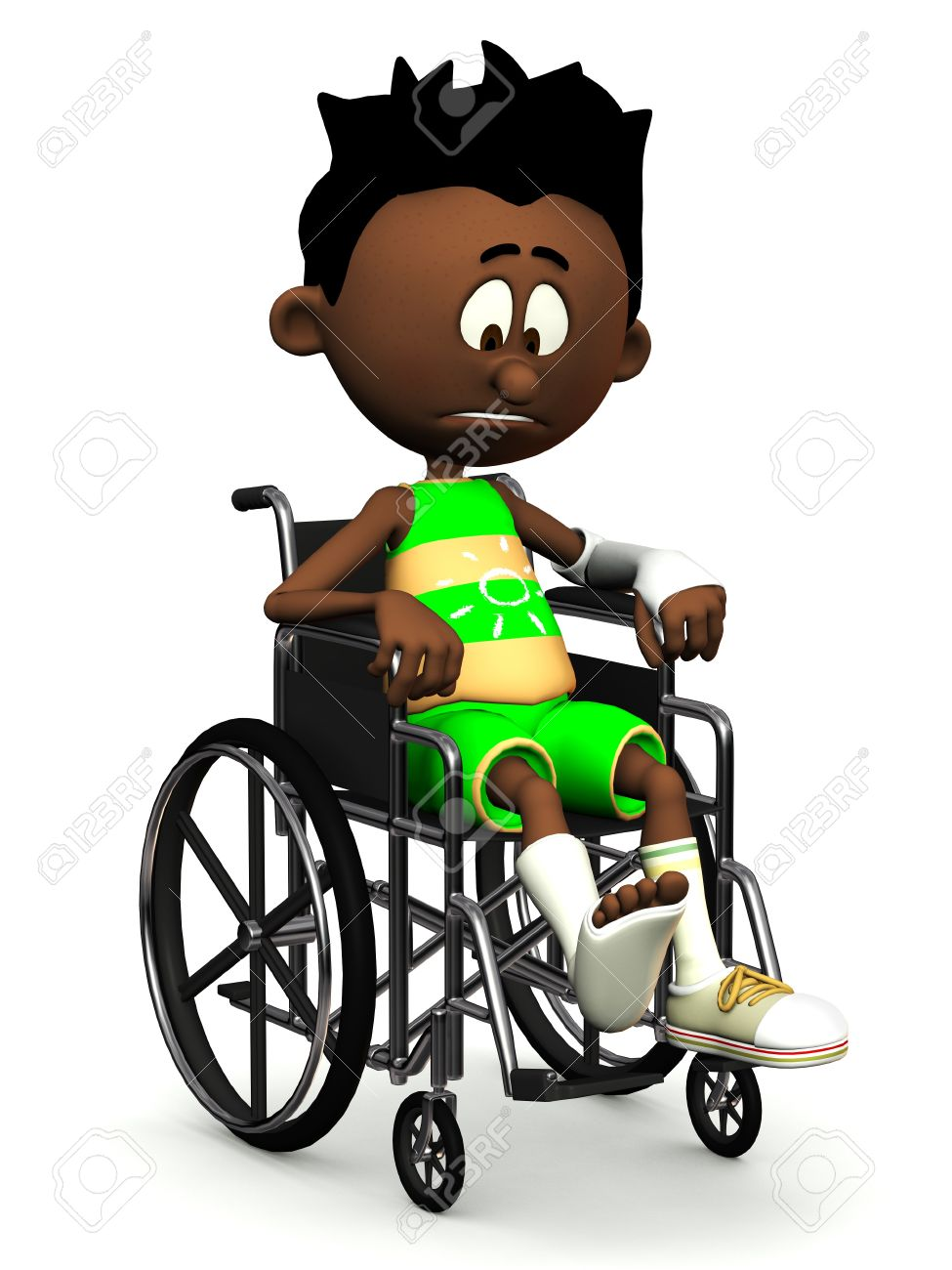 A black cartoon boy with a broken leg and arm sitting in a wheelchair. He is looking very sad. White background. Stock Photo - 9604388