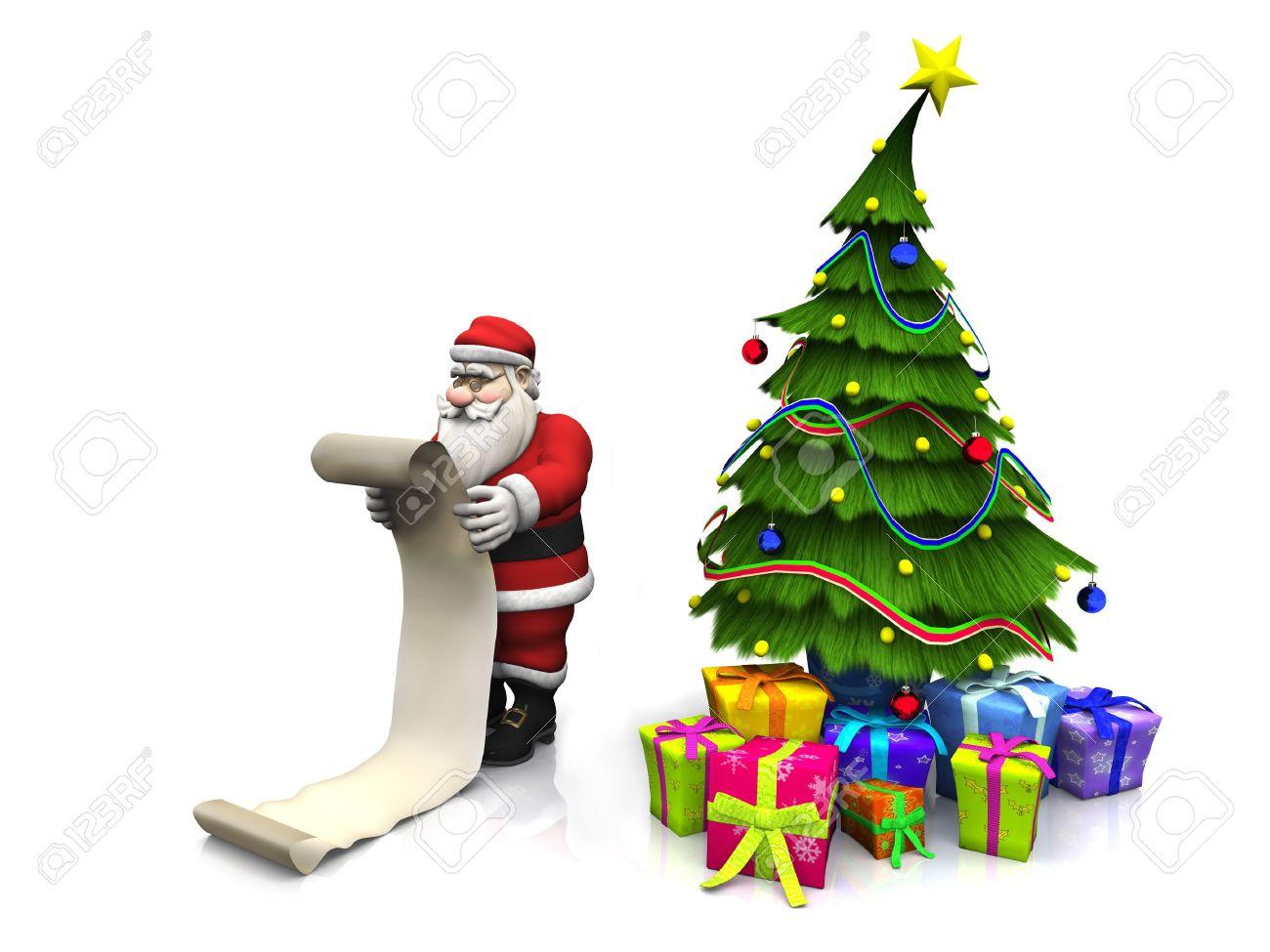 A Cartoon Santa Claus Holding A Long Wish List. Beside Him Is ...