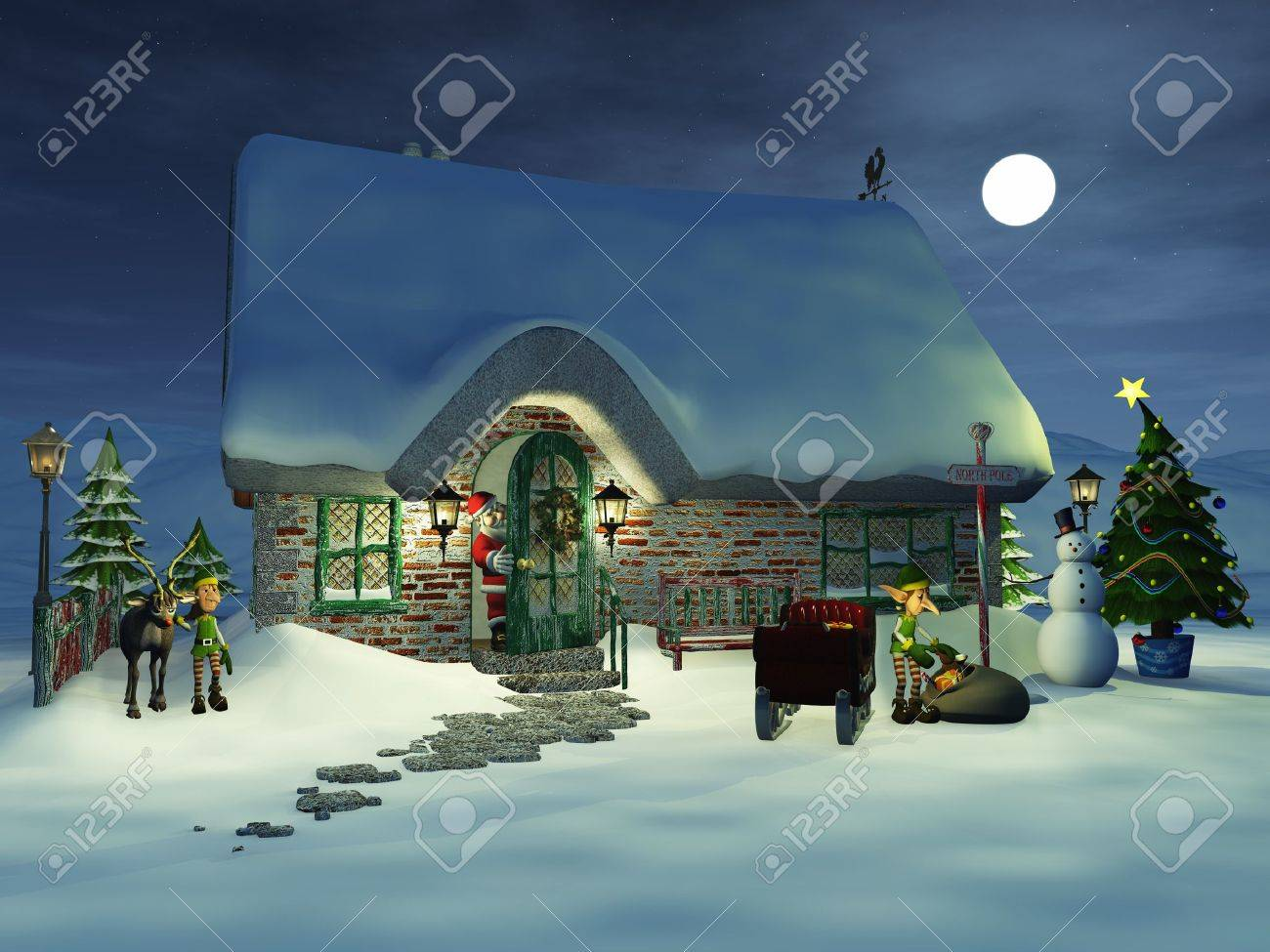 Cartoon Santa Claus keeping an eye on his elves that are preparing the sledge. One elf is getting Rudolph the reindeer and the other is packing gifts. Stock Photo - 11558480