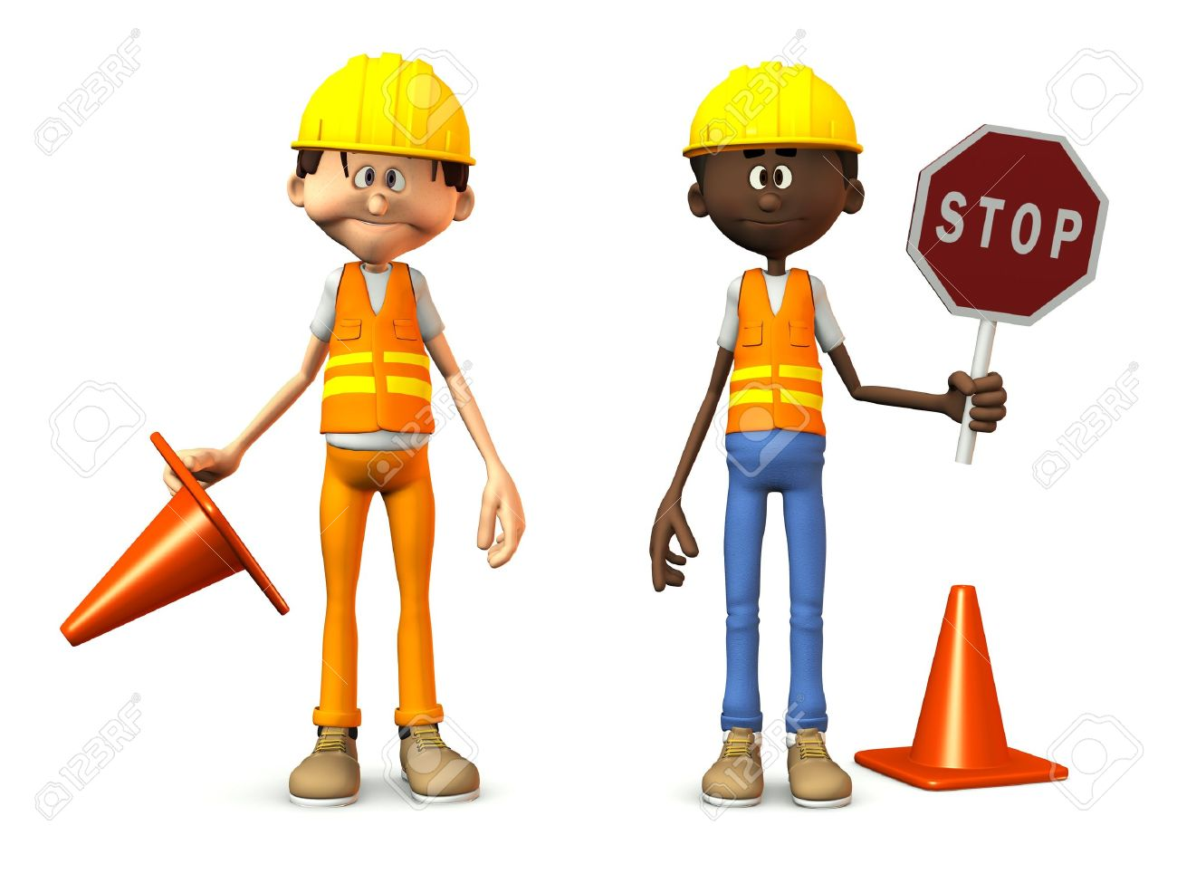 Two cartoon road workers wearing safety vests and holding stop sign and traffic cones. White background. Stock Photo - 11558484
