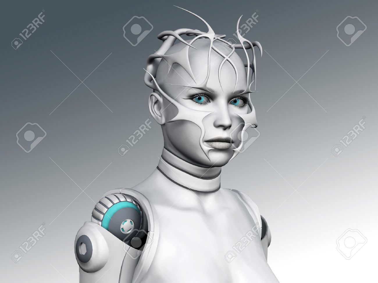 Portrait of a futuristic looking android woman. Stock Photo - 12020227