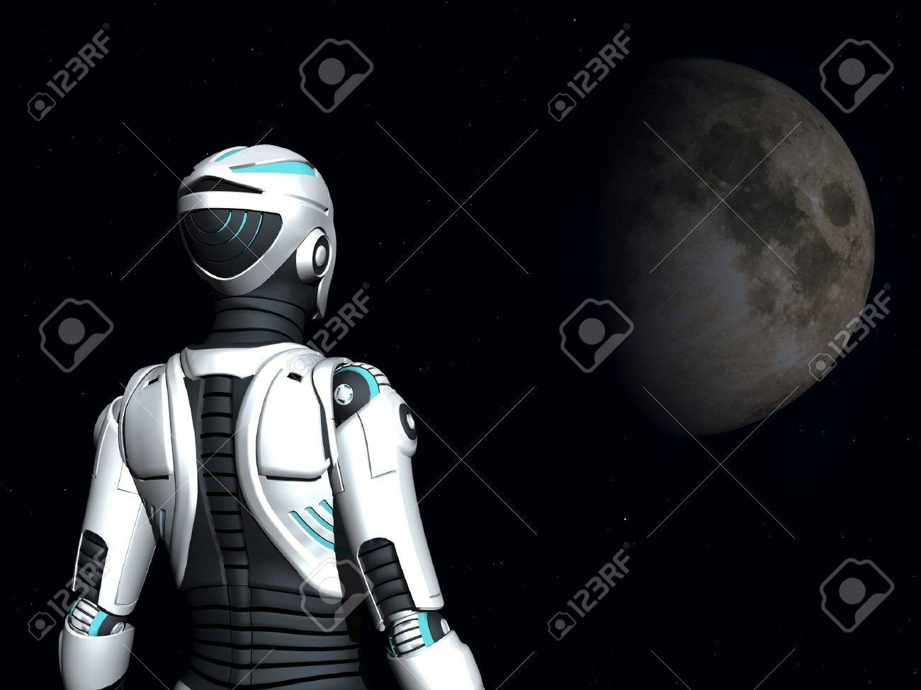 The back of an android woman, gazing out in space. Stars and a planet in the background. Stock Photo - 12020225