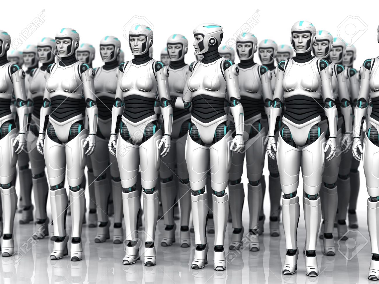 A group of android woman standing in rows, eyes closed. One of the androids have woken up. Stock Photo - 12020230