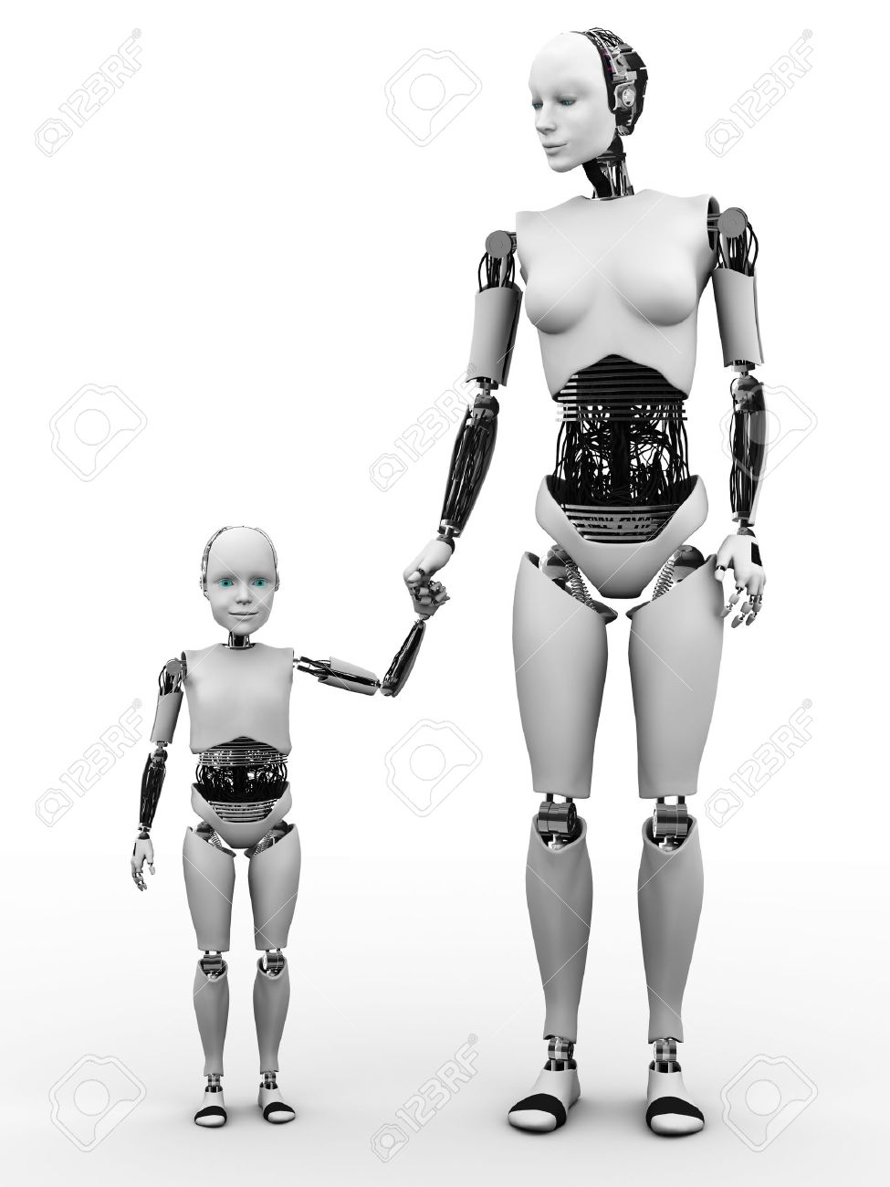 A robot woman holding hand with her robot child. White background. Stock Photo - 12020235