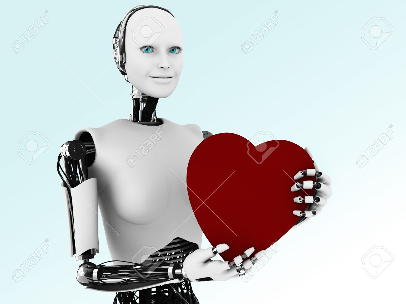 A robot woman holding a big red heart. Stock Photo - 12323271