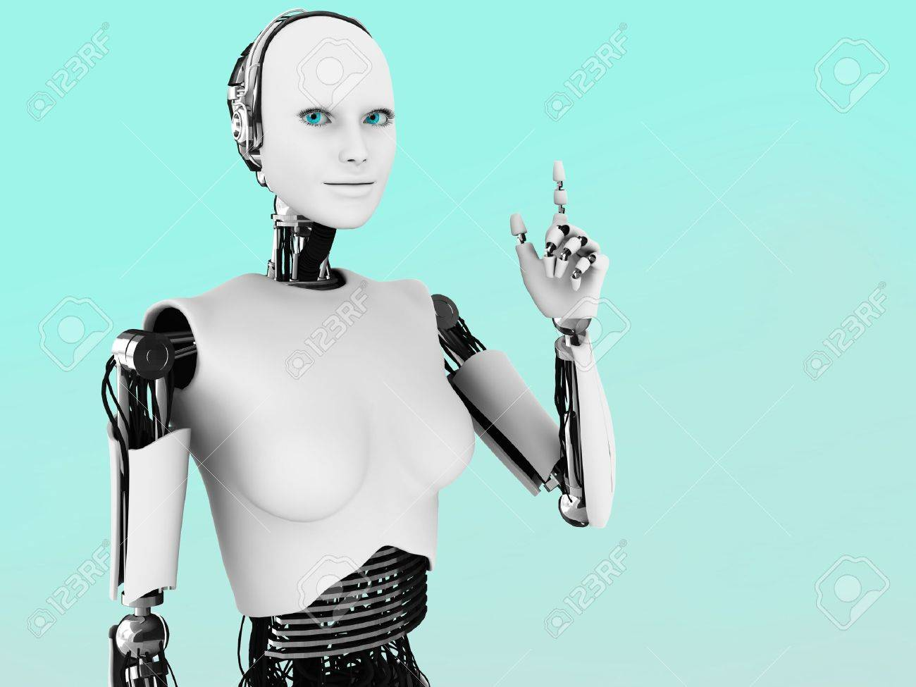 A robot woman holding her hand up with her index finger extended, like she is having an idea. Stock Photo - 12323272