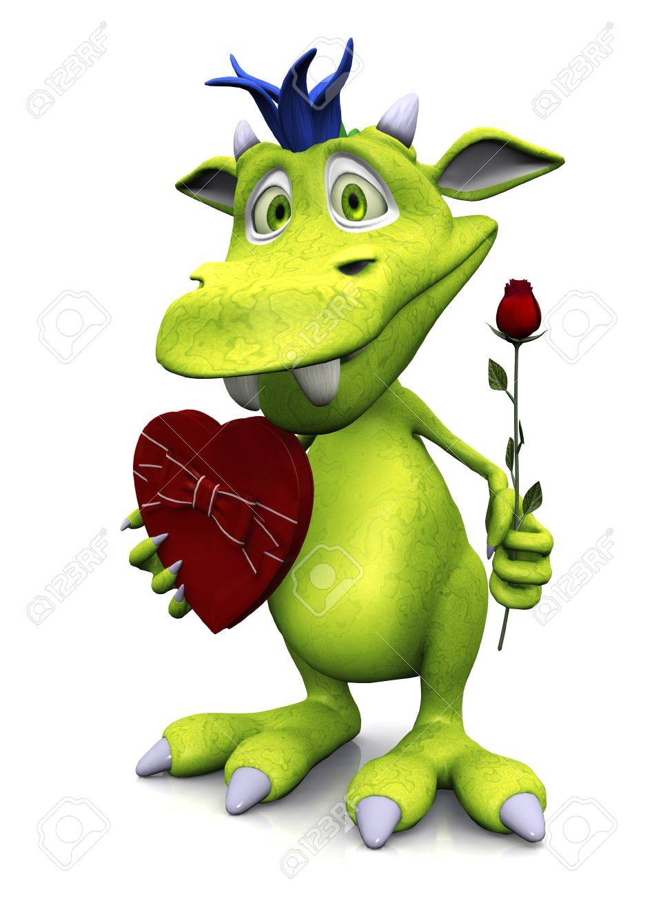 A cute friendly cartoon monster holding a rose in one hand and a heart shaped box of chocolate in the other. The monster is green with blue hair. White background. Stock Photo - 12323277