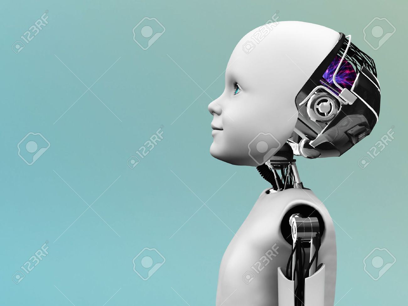 The profile of a child robot gazing into the future. Stock Photo - 12323281