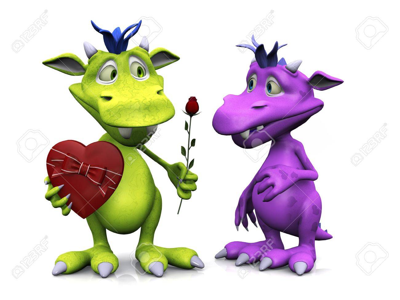 A cute friendly cartoon monster holding a rose in one hand and a heart shaped box of chocolate in the other. He is giving the rose to a girl monster. White background. Stock Photo - 12323283