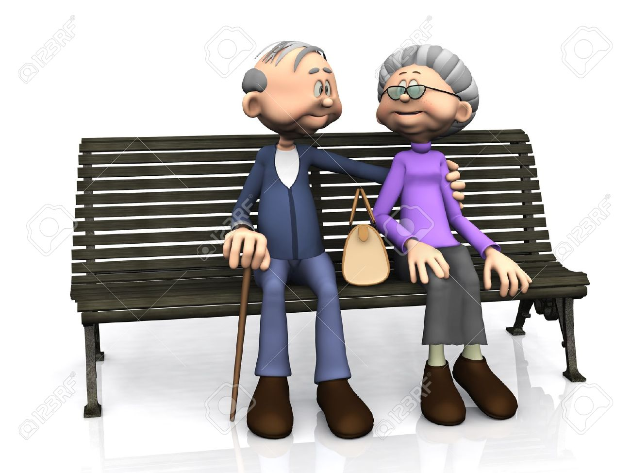 A sweet old cartoon man and woman sitting on a bench, smiling and looking at eachother  White background Stock Photo - 12683042