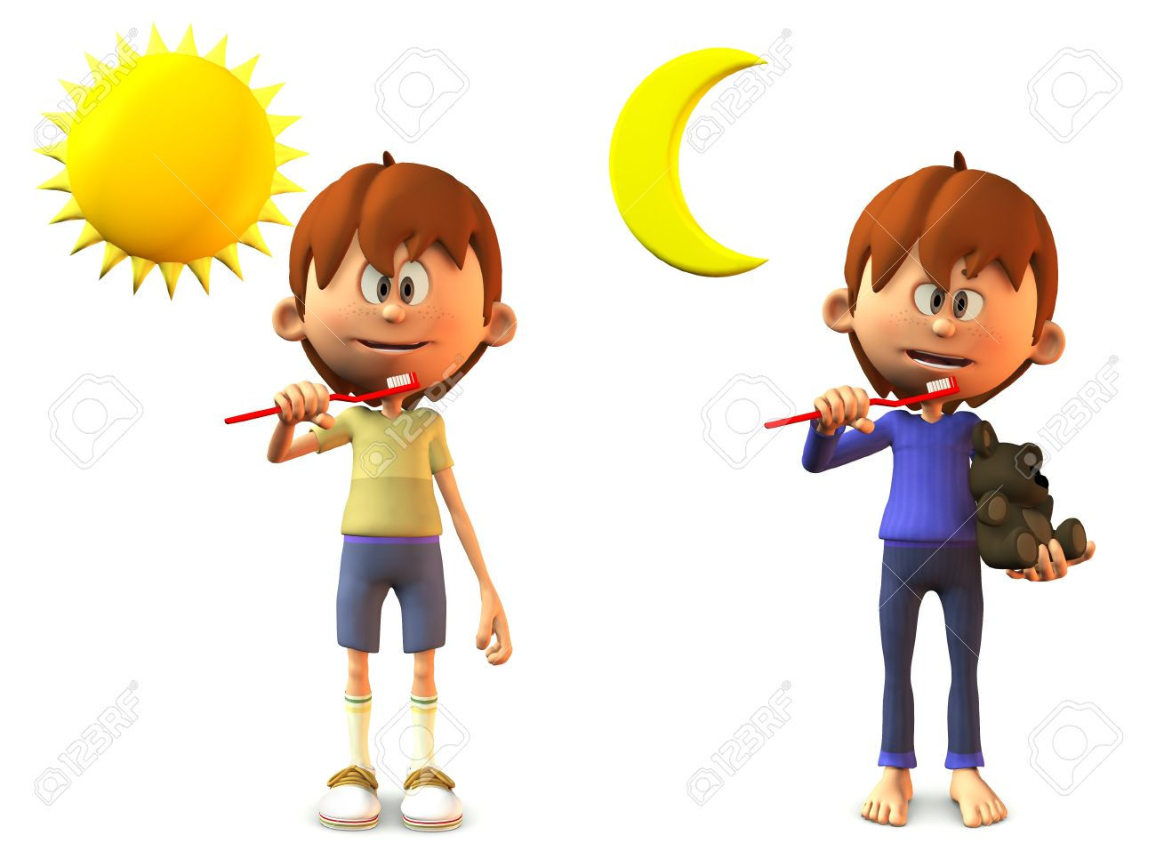 A young, smiling cartoon boy holding a toothbrush, ready to brush his teeth in the morning and in the evening  White background Stock Photo - 12683041