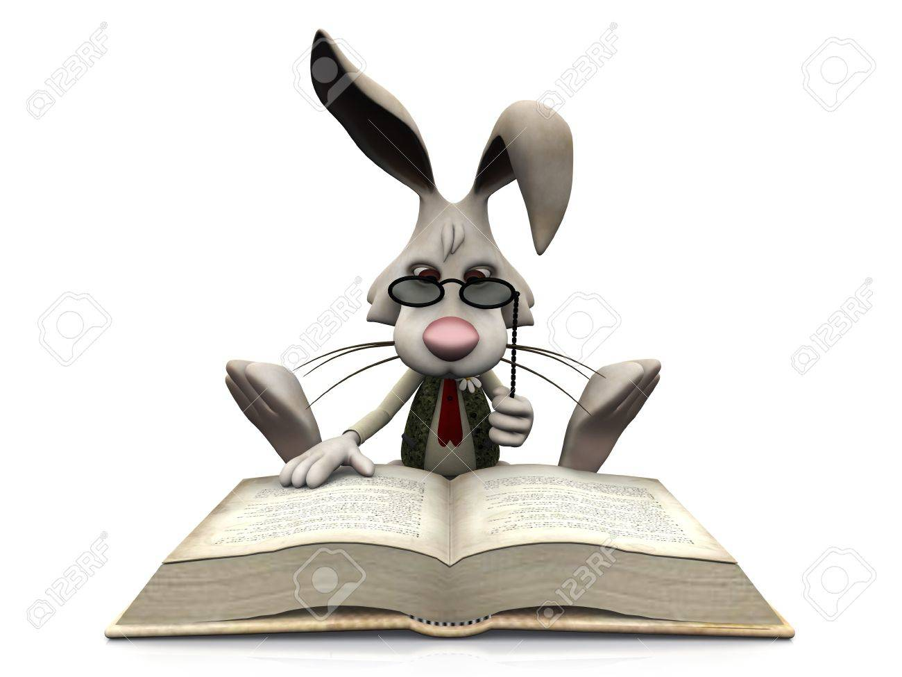 A cartoon rabbit wearing glasses sitting on the floor and reading a big book  White background Stock Photo - 13045921