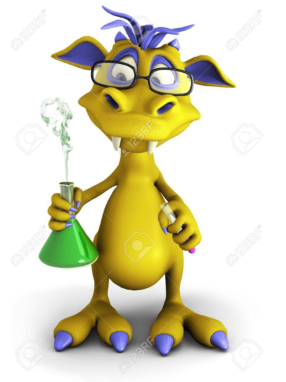 A cute cartoon monster wearing glasses and doing an experiment. He is holding a beaker with smoke coming out from it Stock Photo - 13846171