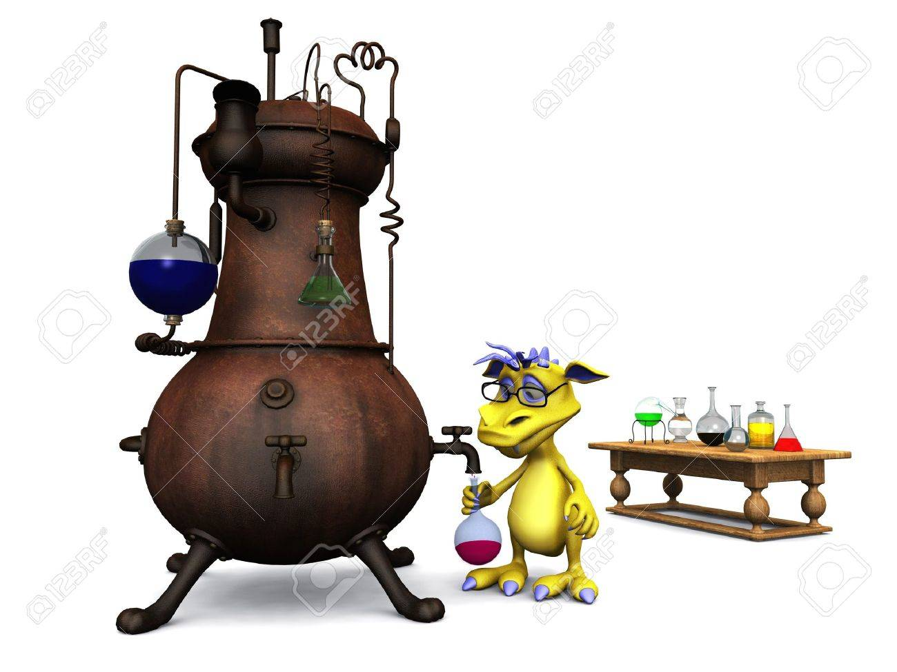 A cute cartoon monster wearing glasses working in his chemistry lab  White background Stock Photo - 13846145