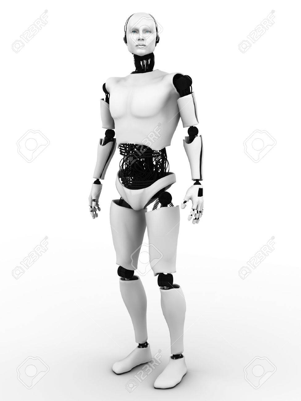 Male robot standing. White background. Stock Photo - 15093137