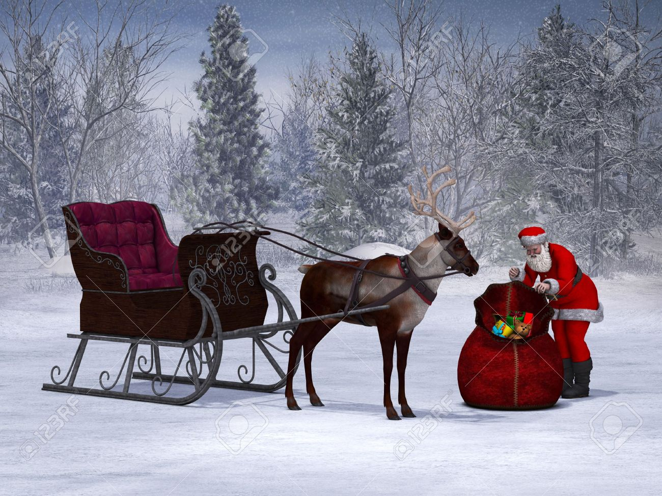 santa packing his sack with his sleigh and reindeer beside him