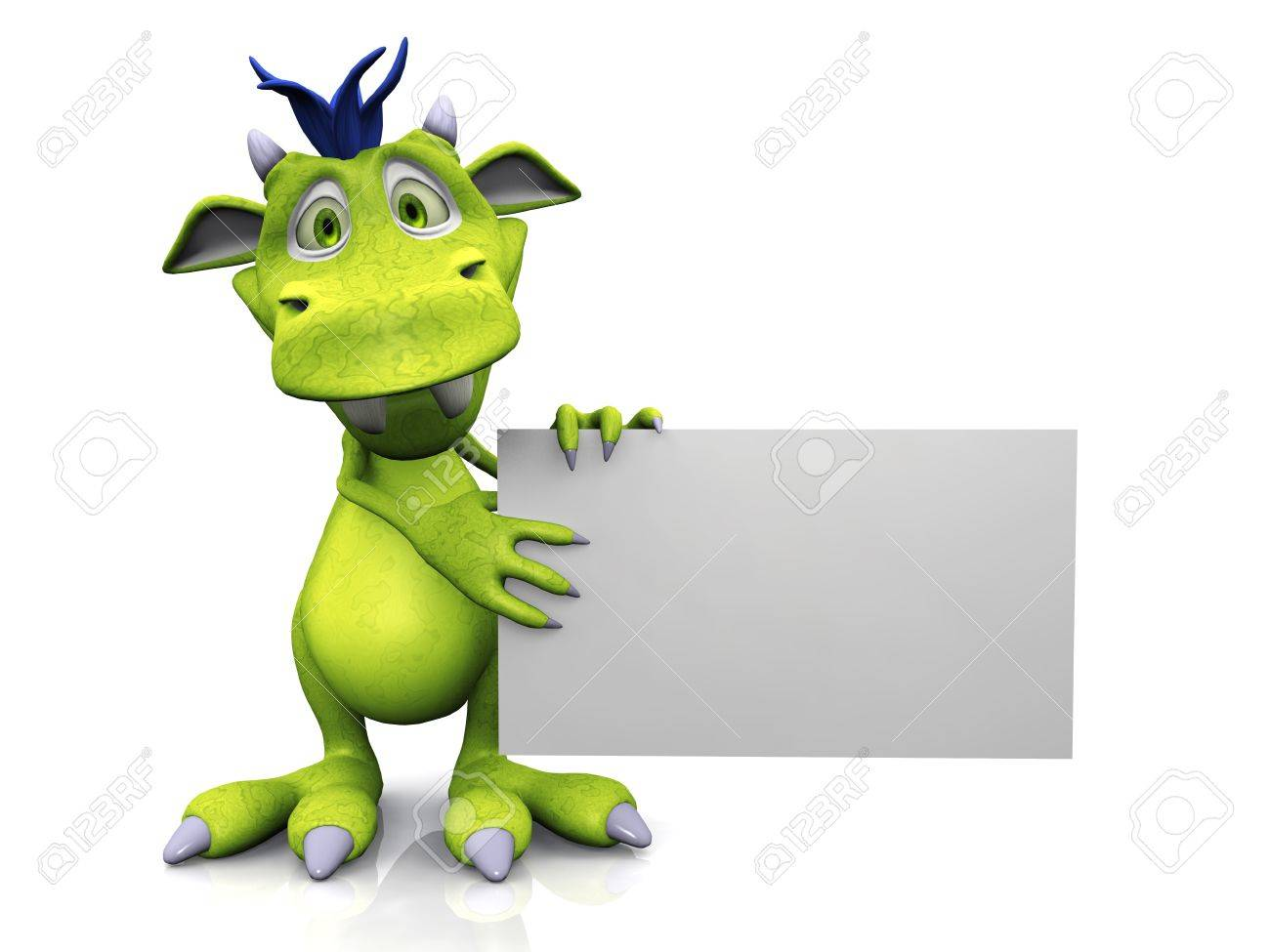 A cute friendly cartoon monster holding a blank sign in his hands  The monster is green with blue hair  White background Stock Photo - 17562691