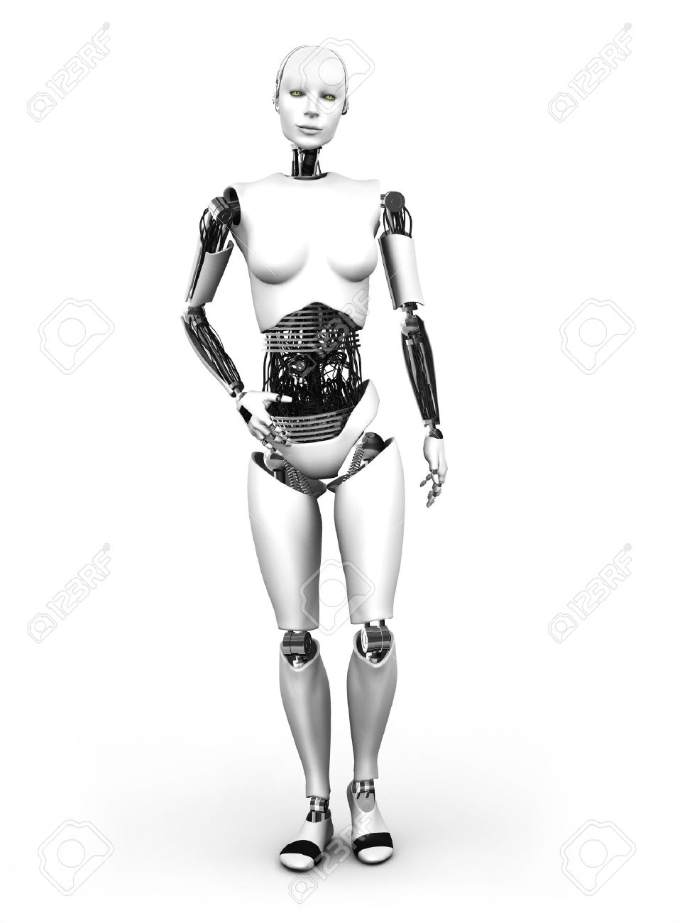 A full body image of a robot woman standing  White background Stock Photo - 18544328