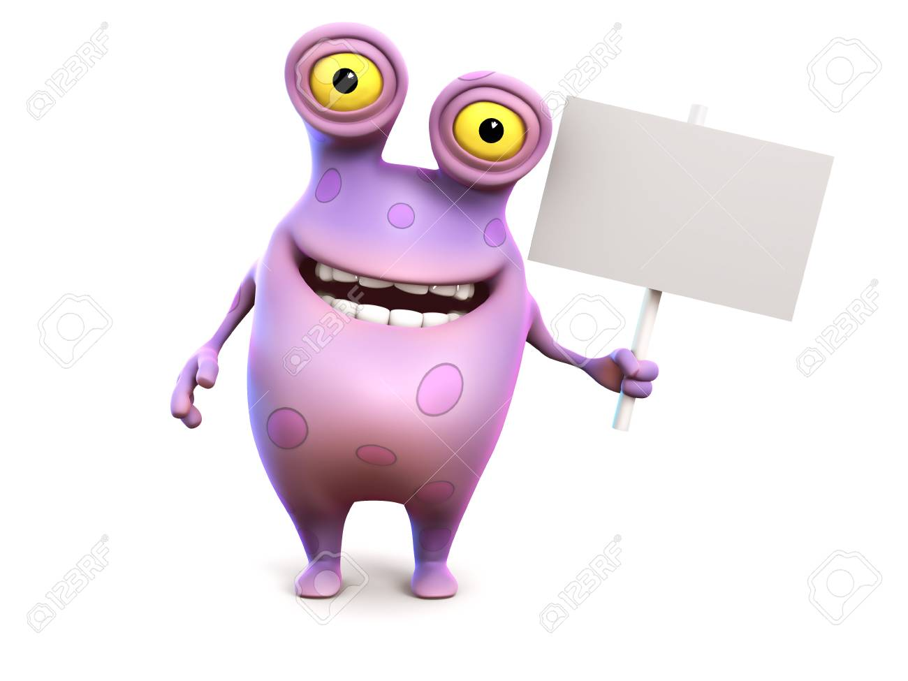 A smiling cute charming pink spotted cartoon monster holding a blank sign in his hand. White background. Stock Photo - 23933172