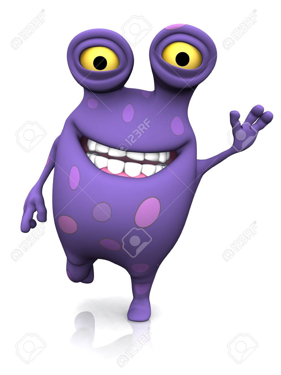 a cute charming cartoon monster waving its hand and looking very