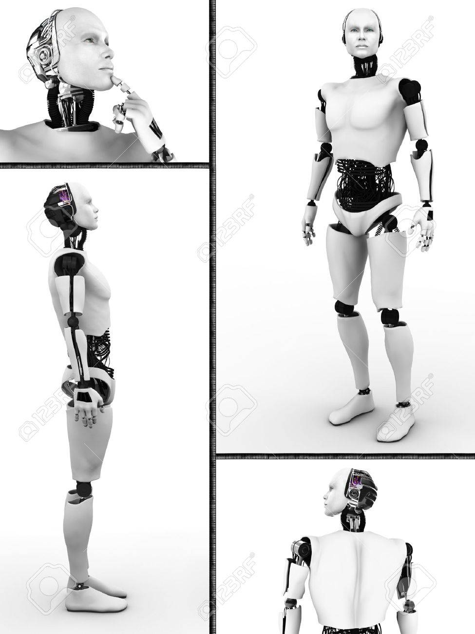 Collage with a male robot  Four different views of the robot  White background Stock Photo - 26654360
