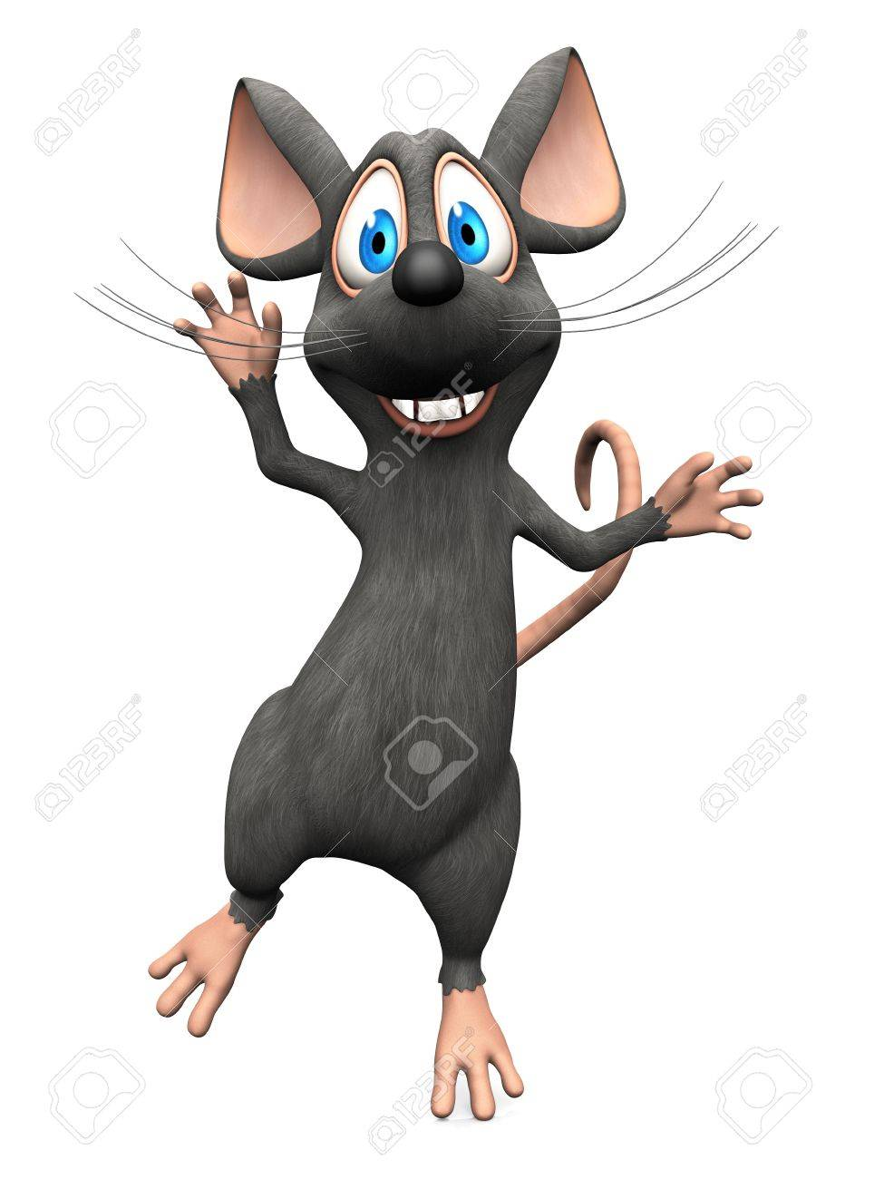 A cute smiling cartoon mouse jumping for joy. White background. Stock Photo - 36053417