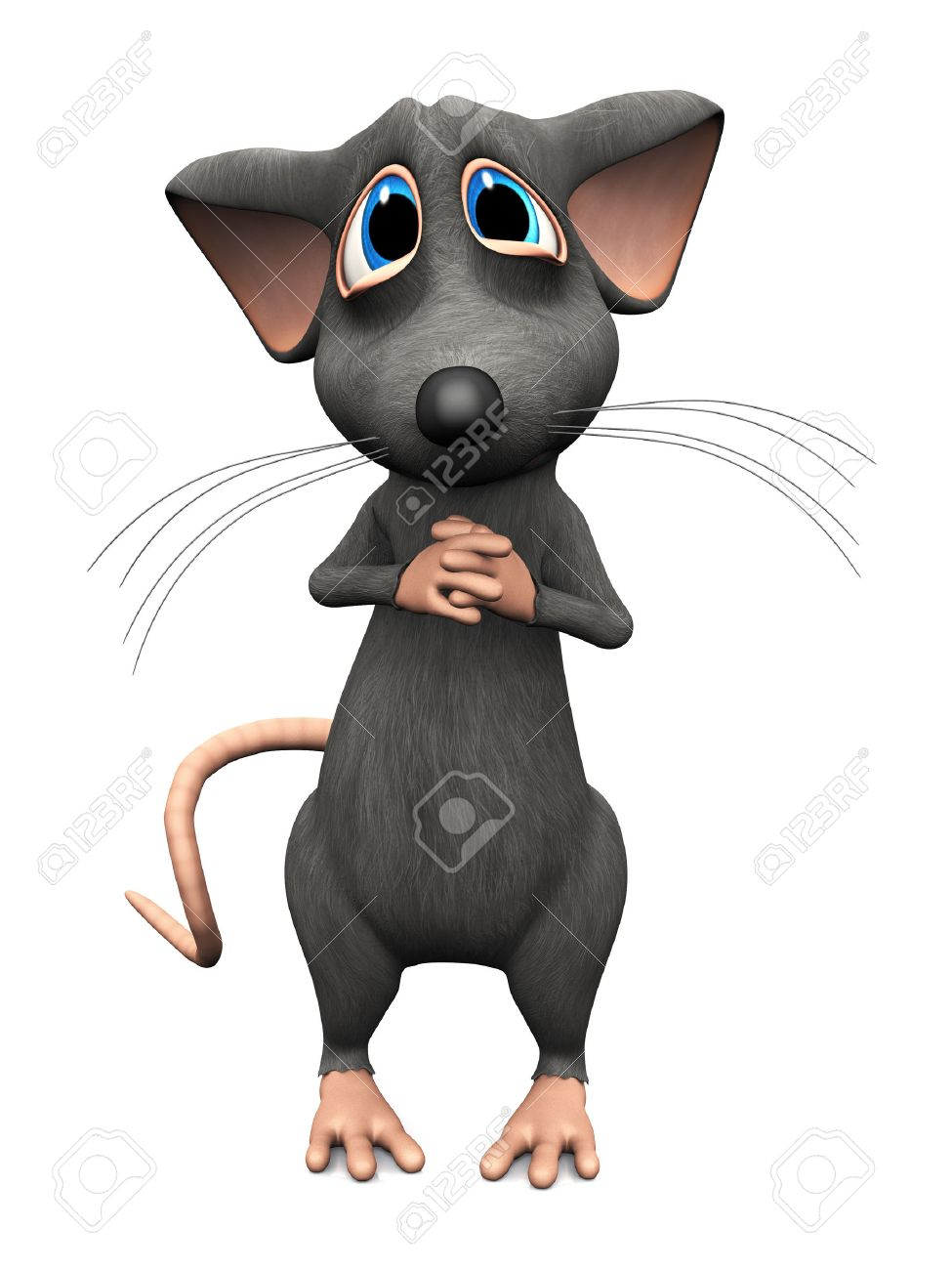 A cute upset cartoon mouse with very big sad eyes. White background. Stock Photo - 36053421