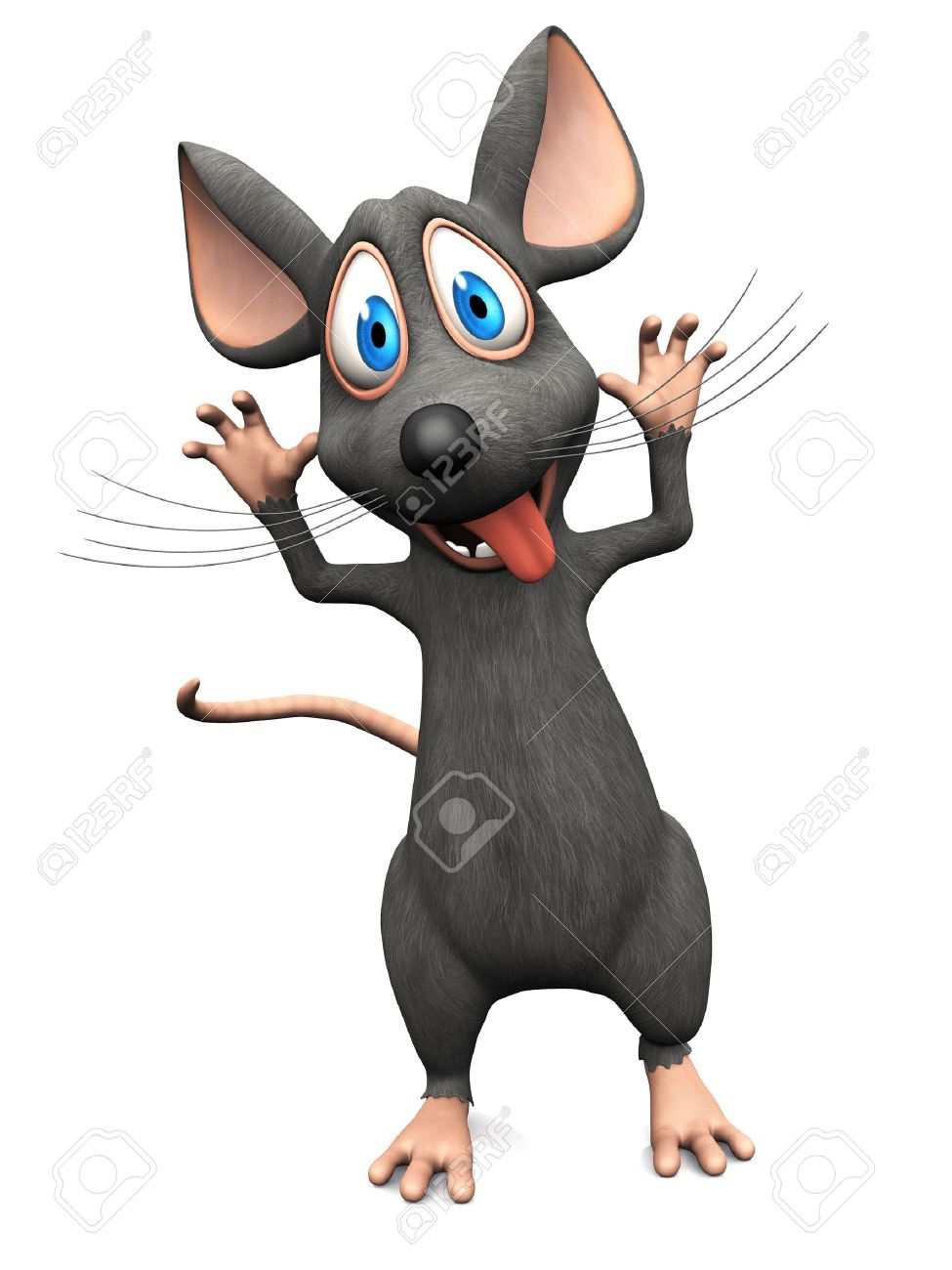 A cute smiling cartoon mouse sticking his tongue out and doing a silly face. White background. Stock Photo - 36053598