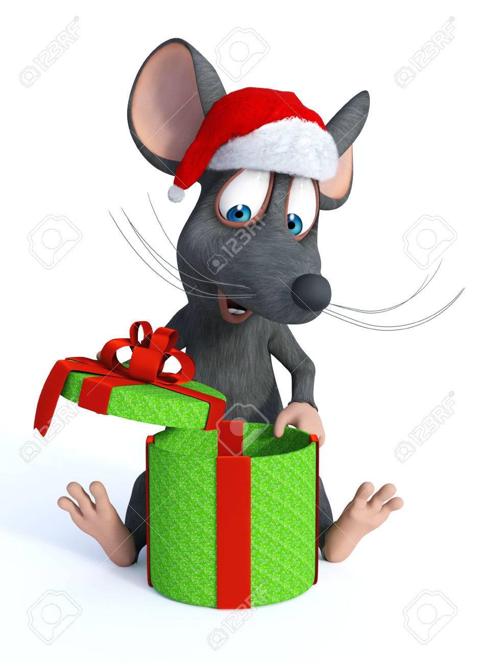 Eine Nette Lächelnde Cartoon-Maus Auf Dem Boden Sitzend Mit Einem ...
