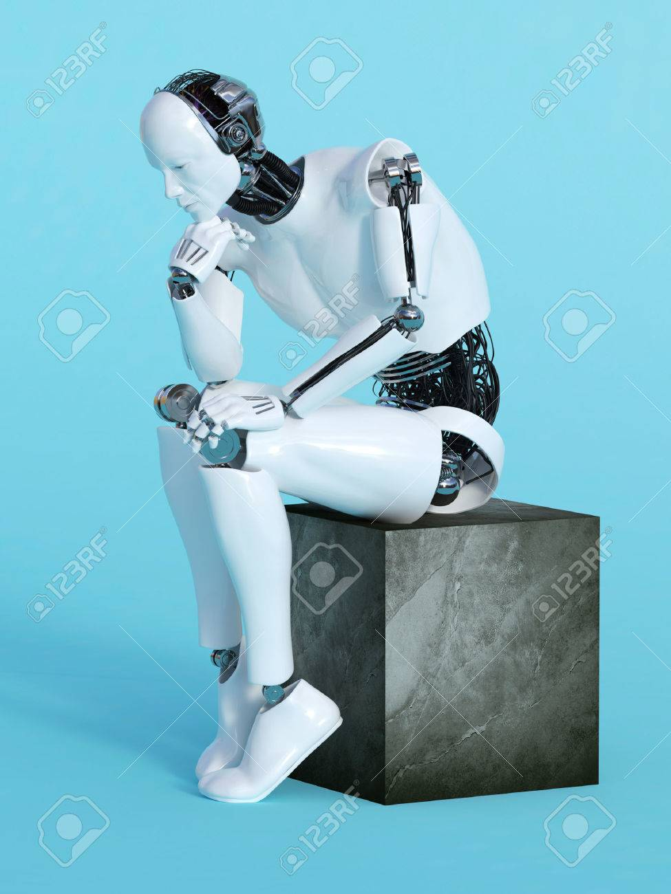 A male robot sitting and thinking, image 1. Blue background. Stock Photo - 55118304