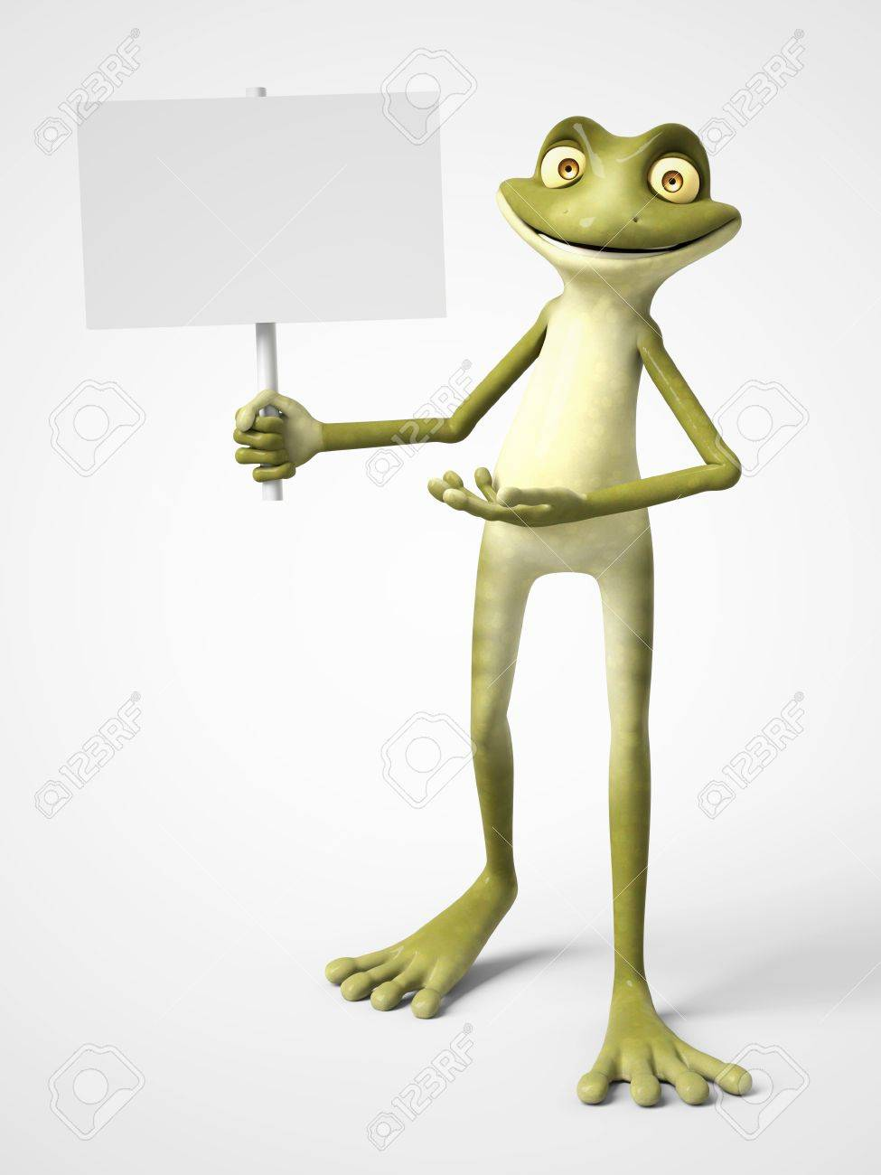 3d rendering of a smiling cartoon frog holding a blank sign