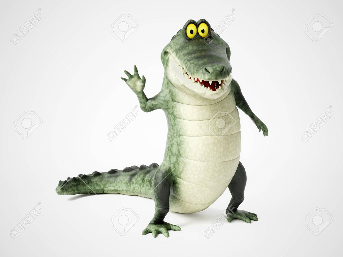 3d Rendering Of A Cute Friendly Cartoon Crocodile Standing Up