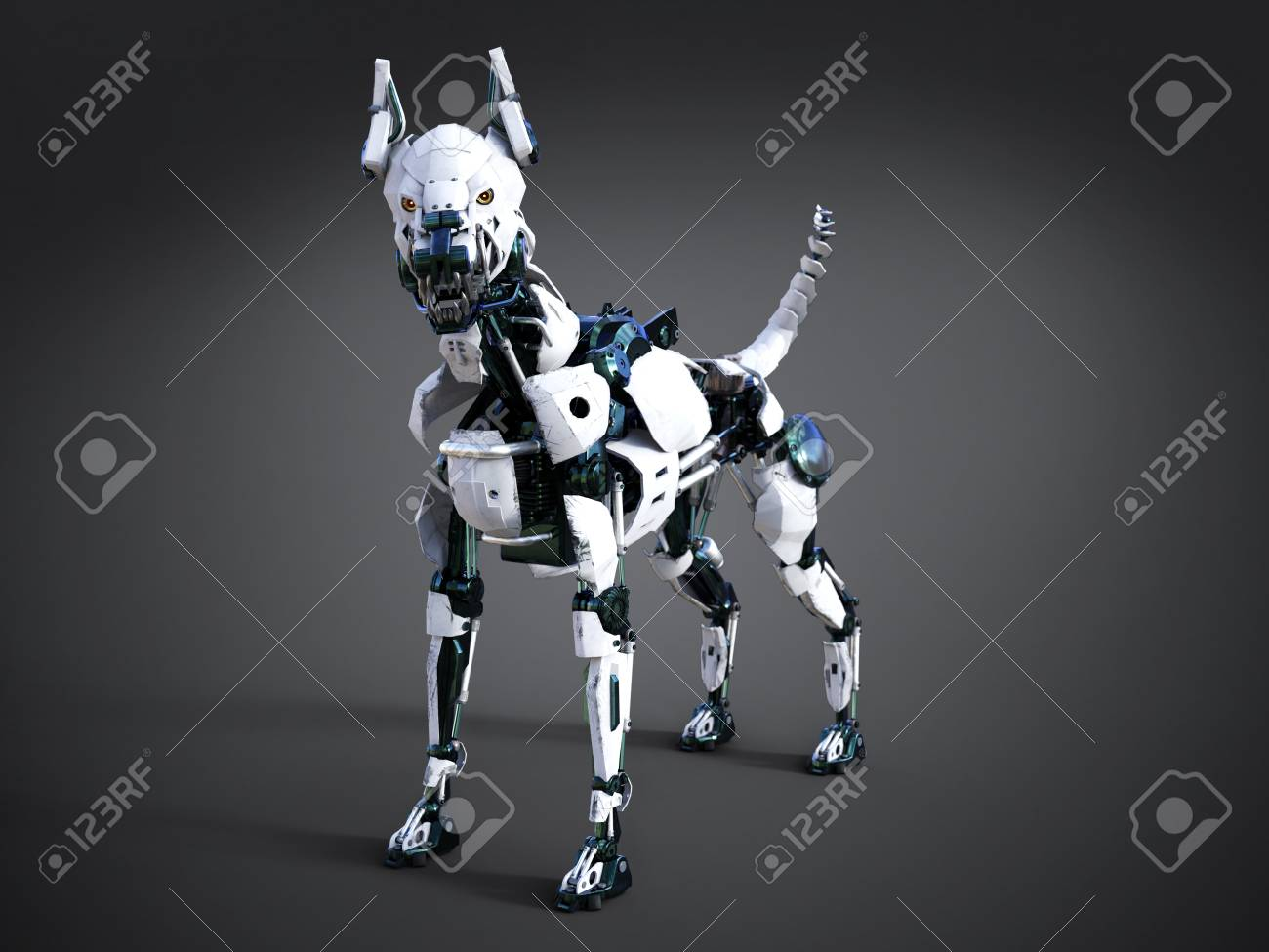 3D rendering of a futuristic mean looking robot dog  Dark background