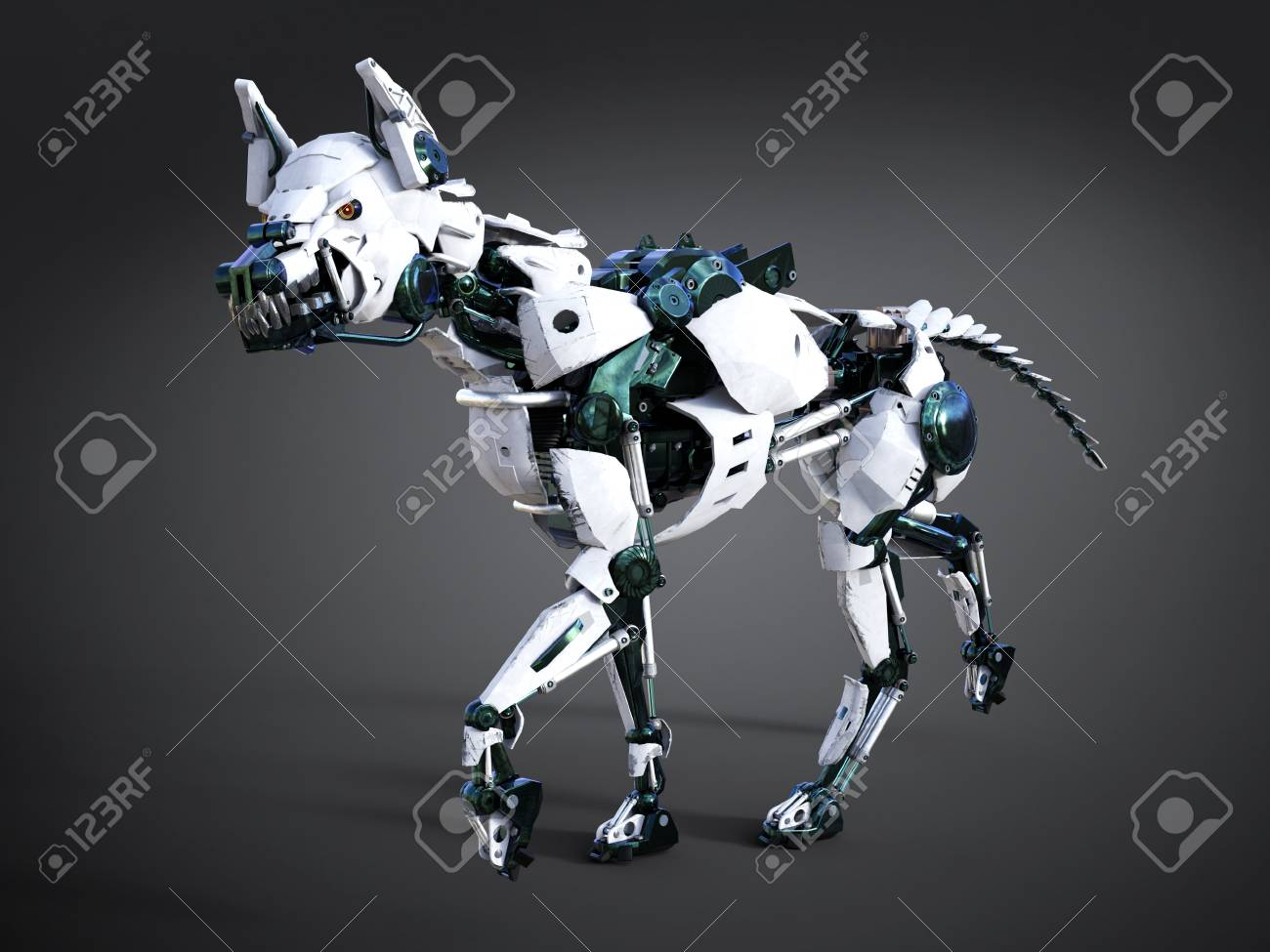 3D rendering of a growling futuristic mean looking robot dog