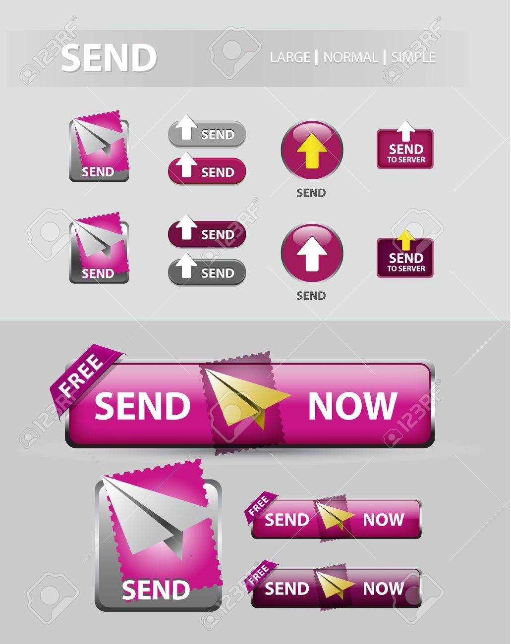 send now button, collection of mail message icons and buttons - 12173577